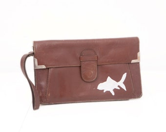 Vintage Leather Clutch with Hand Painted Goldfish