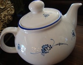 P & K Made in England Blue and White Porcelain Flower Teapot Tea Pot 4621 TYCAALAK