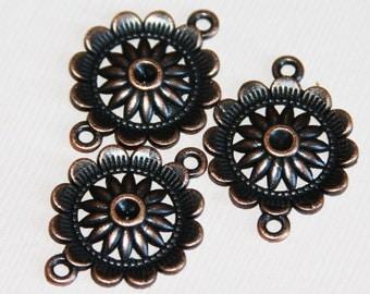 Bulk 50 pcs of antique copper  flower connector 21x3mm