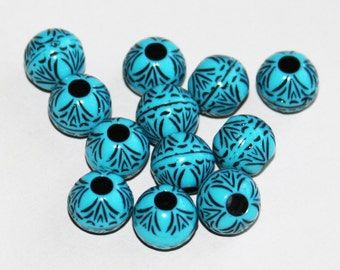 60 pcs of Vintage Acrylic round beads 8.5x10mm Blue with Black accent