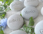 Personalized Wedding place setting and favors - Set of 30 engraved stones with guests' Names - unique wedding guest gifts by sjEngraving