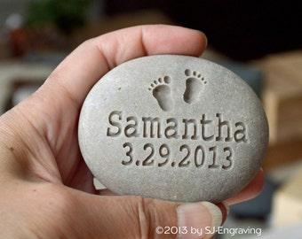 New grandma, grandpa, parent, grandparent gift - New baby rock- newborn personalized engraved gift