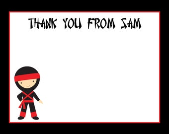 20 Personalized Thank You Cards - Ninja