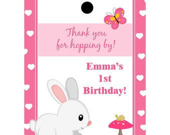24 Personalized Birthday Favor Tags - Bunny