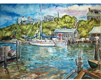 HOME From The SEA -11x15 original painting seascape watercolor OOAK, Harbor, Seascape, Waterfront, Port, Boat, Sail Boat, Dock, House