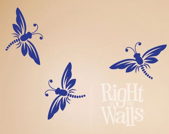 Dragonfly Wall Decal, 3pc Dragonfly Vinyl Wall Art Decal Removable Dragonfly Wall Decor Sticker