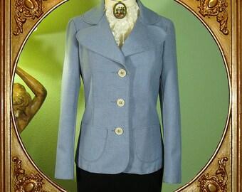 60s blue tailored Finnish jacket by Rina Norén / Malli Mari. S