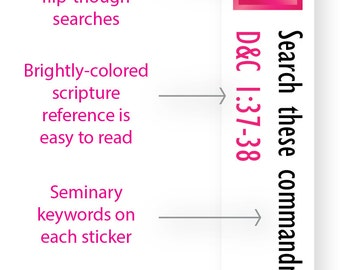 INSTANT DOWNLOAD - LDS Scripture Mastery / Seminary / Scripture Stickers - Bright Pink