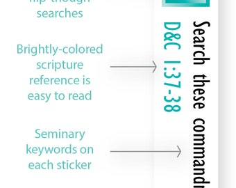 INSTANT DOWNLOAD - LDS Scripture Mastery / Seminary / Scripture Stickers - Turquoise