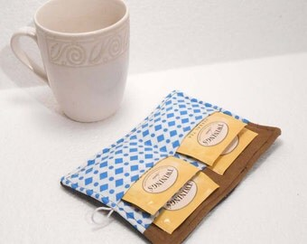 Mini wallet, Tea Bag Holder, Small Wallet, Business Card Holder - Dark Denim and Blue Diamonds READY MADE