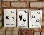 Printable PDF Animal Tracks ABC Flash cards