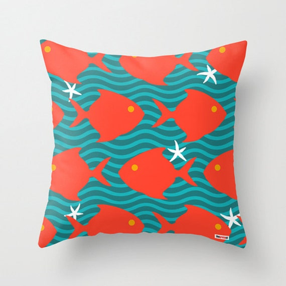 16x16 Decorative Pillow Covers : 16x16 Decorative throw pillow cover Red fishes pillow cover