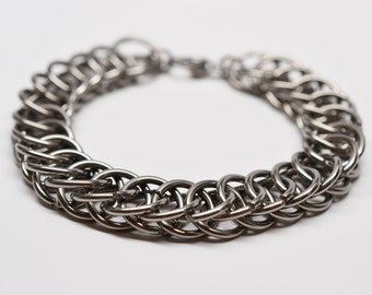 Mens 14 gauge half persian chainmaille titanium bracelet