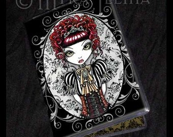 Annie Gothic Red Victorian Fairy ID Card Holder Myka Jelina Art
