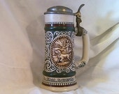 """SPORTSMAN Collectors Stein. The Strike """"Rainbow Trout""""(At Point """"English Setter"""")Hand Made, Numbered. Made in Brazil. Year 1978"""