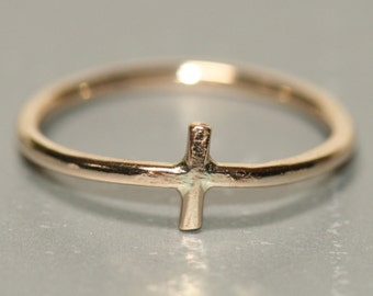 Small Gold Cross Ring 14k Gold Fill Pinky US Size 3.5  by Maggie McMane Designs