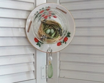 Great gift Idea Upcycled Vintage Teacup Red Rose Bird Nest Eggs Inspirational Words Altered Art Wall vignette Decor Rustic Farm House