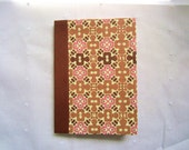 Altered Mini Composition Book with a Brown, Tan, Pink and Cream Abstract Pattern
