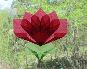 Red Flower Origami Window Decoration (Similar to Translucent Kite Paper Waldorf Window Stars)