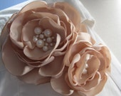 fabric flower brooch - large deep ivory blooms with cream freshwater pearls - Ready To Ship