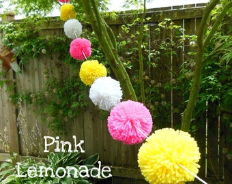 Yarn Pom Pom Garland - Pink Lemonade - White, Yellow and Pink