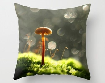 Mushroom In The Forest Pillow Cover Natural History Fungi Print Mycology Photograph Pillow Cover Woodland Scene Forest Light