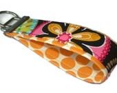 Fabric Key Fobs -  Fabric Keychain - Key Wristlet - Key Fob - Carnival Bloom