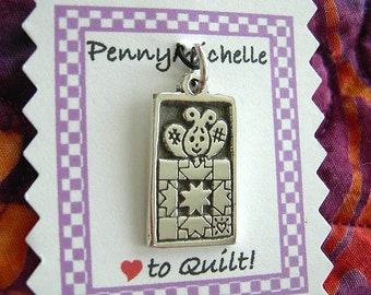 Quilting Bee with Quilt Sterling Silver Charm