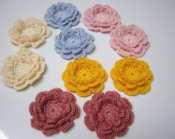 10 Small Crochet Flower Appliques Pastel Colors Irish Roses