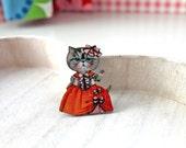 Cat Lady wooden brooch kawaii sweet lolita egl orange dress