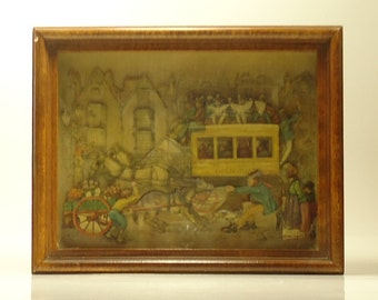 Beautiful Vintage Layered Picture With Three Dimentional Effect In Shadowbox Frame