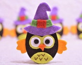Set of 6pcs handmade felt Halloween owls (FT975)