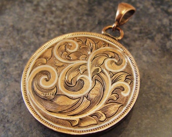 Hand Engraved Art Nouveau Coin Penny For Your Thoughts with Silver Inlay