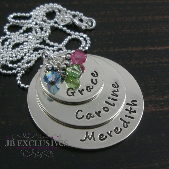 Personalized hand stamped mommy necklace -  sterling silver - 3 layered name discs and birthstones