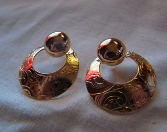 Pair of Vintage Avon New in Box Goldtone Brocade Convertible Pierced Earrings with Surgical Steel Posts