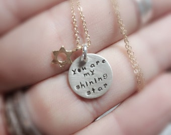 you are my shining star - Bat Mitzvah gift idea -Hand Stamped By Simag