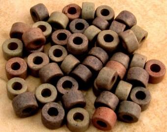 Greek Ceramic Tube Beads, Rose Grey, 6x4 mm, 50 Pieces M199