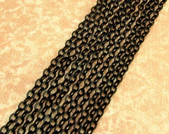 Black Cable Chain, Soldered, Matte Black, 3mm, 6 Feet, MB10