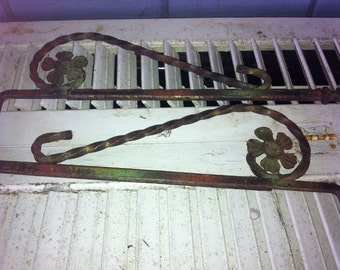 Pr Antique Painted Architectural Salvage Metal Swing