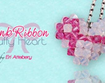 Beading Pattern: Pink Ribbon Puffy Heart
