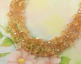 Crocheted Citrine and Silver Necklace Long CLEARANCE