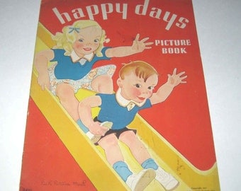Happy Days Vintage 1930s Over Sized Children's Textured Book by Merrill Publishing Includes Scotty Dog