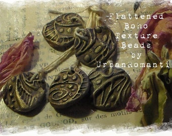 Artisan Beads Polymer Clay Flattened Boho textures Plum Brown  Gold
