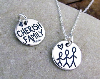 Cherish Family Necklace - Three Sisters Jewelry - New Baby Mom Necklace