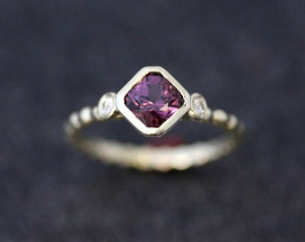 Plum Purple Spinel and Moissanite Ring, Asscher Cut Ring, 14k Green Gold Ready To Ship Size 5.5