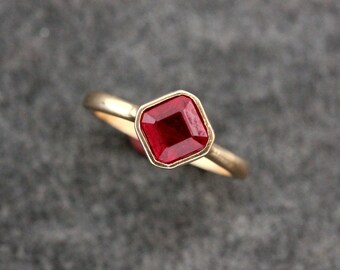 Asscher Cut Ruby Ring Solitaire Gemstone in 14k Rose Gold.