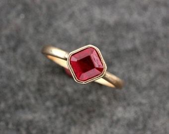 Asscher Cut Ruby Ring Solitaire Gemstone in 14k Rose Gold.