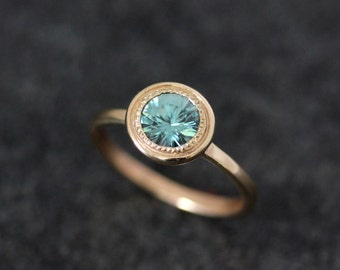 Blue Zircon and 14k Yellow Gold Halo Ring, 14k Yellow Gold Halo Ring with Milgrain detail, Blue Zircon Solitaire