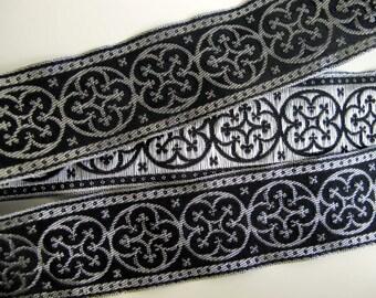 2 yards  BYZANTINE Jacquard trim in metallic antique silver on black. 1 5/8 inch wide. 958-A Fine brocade trim