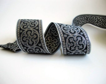5ft+  BYZANTINE Jacquard trim in metallic antique silver on charcoal grey and black. 1 5/8 inch wide. 958-L
